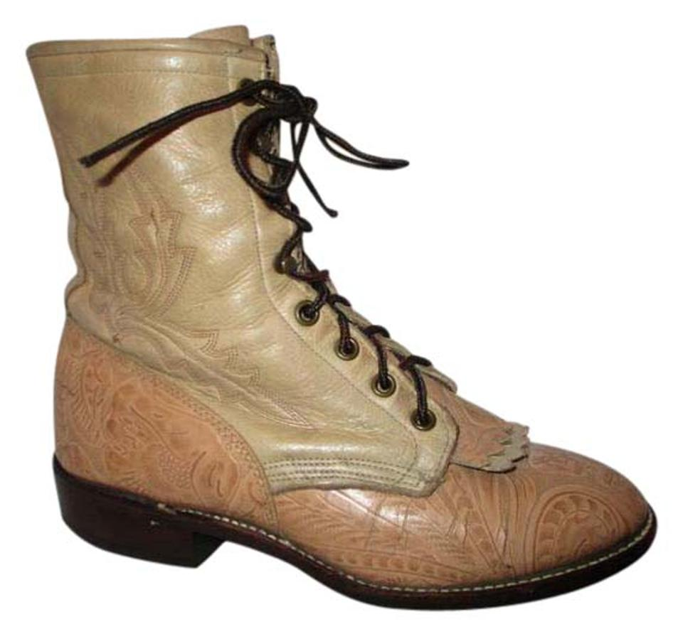 7df1d265a706d Larry Mahan Tan & Beige Vintage Tooled Leather Roper Boots/Booties Size US  7 Regular (M, B)