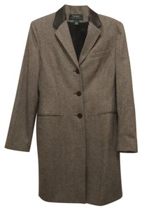 Lauren Ralph Lauren New Wool Leather Over Tweed Trench Coat
