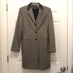 Lauren Ralph Lauren New 100% Wool Leather Over Tweed Coat
