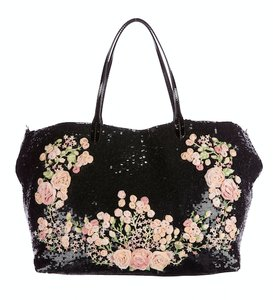 Valentino Sequin Floral Embellished Embroidered Tote in Black