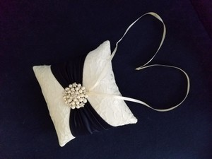 Ivory Lace And Navy Satin Ring Bearer Pillow