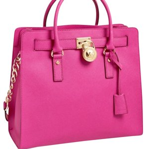 Michael Kors Large Hamilton Hamilton Summer Satchel in Raspberry / hot pink