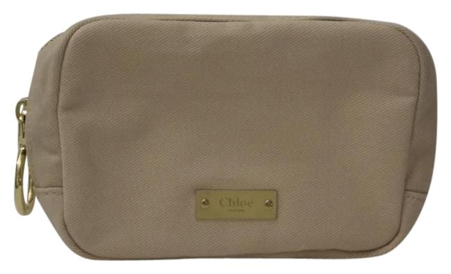 Item - Tan Beige Parfum Cotton Twill Zipper Top Make-up Cosmetic Bag