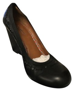 Lucky Brand Leather Totally Cute Black Wedges