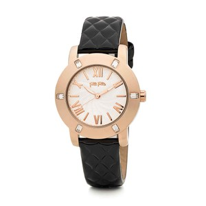 Folli Follie DONATELLA Watch with Black Quilted Leather Band