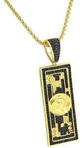 Other 100 Dollar Bill Pendant Black Lab Diamonds 14k Gold Finish 24