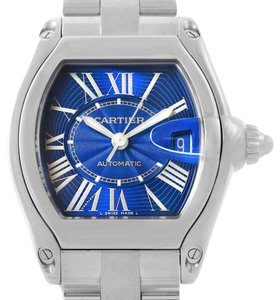 Cartier Cartier Roadster Mens Stainless Steel Large Blue Dial Watch W62048V3