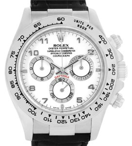 Rolex Rolex Cosmograph Daytona White Gold Black Strap Mens Watch 116519