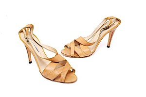 Manolo Blahnik Slingback Open Toe Easter Tan Pumps