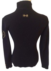 JC de Castelbajac Turtleneck Form Fitting Active Wear Embroidered Sweater