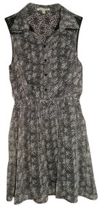 Lucca Couture short dress black and gray Sleeveless Lace Panel Monochrome Print Shirt on Tradesy
