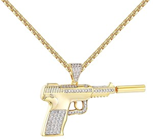 Other Silencer Gun Pendant Iced Out Simulated Diamond Mens 14k Gold Finish