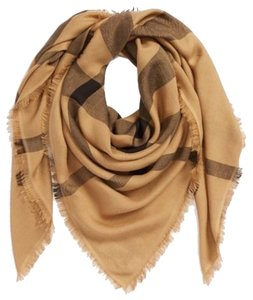 Burberry BURBERRY Overdyed Chambray Check Square Scarf Women Camel Check