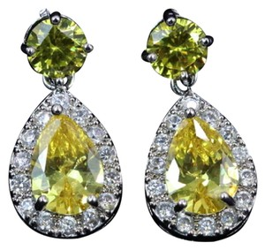 Other White gold plated. Yellow Cubic Zirconia Earrings #2082