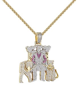 Other Man With Pet Lions Pendant Full Iced Out 14k Gold Finish Free Chain