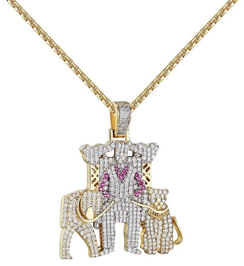 Preload https://img-static.tradesy.com/item/20884548/man-with-pet-lions-pendant-full-iced-out-14k-gold-finish-free-chain-charm-0-1-540-540.jpg