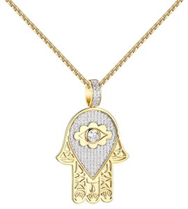 Other Evil Eye Hamsa Hand Pendant 14k Gold Finish Simulated Diamonds