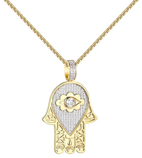 Preload https://img-static.tradesy.com/item/20884549/evil-eye-hamsa-hand-pendant-14k-gold-finish-simulated-diamonds-charm-0-2-540-540.jpg