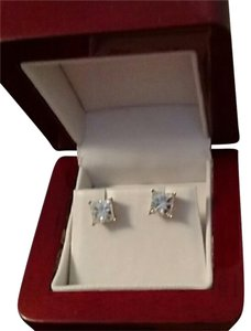 Charles and Colvard 4 Carat Moissanite Princess Cut Earrings in 14k White Gold