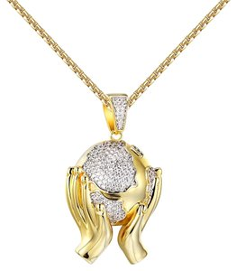 Other Hands Holding World Pendant 14k Gold Finish Simulated Diamonds