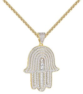 Other Hamsa Hand Pendant 14k Gold Finish Iced Out Simulated Diamonds