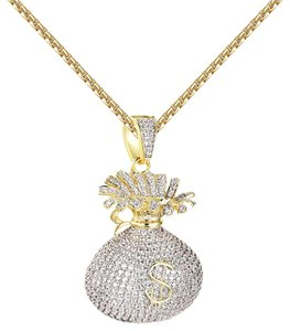 Other Hip Hop Money Bag Pendant Iced Out Simulated Diamonds 14k Gold Finish