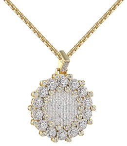 Other Cluster Set Medallion Pendant Iced Out Simulate Diamond Free Chain
