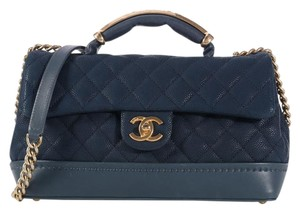 Chanel Blue Blue Globe Trotter Quilted Cross Body Bag