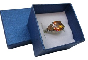 Other 7.25 Pre-Owned Orange Fire Opal Citrine Druzy RIng 925 Sterling Silver