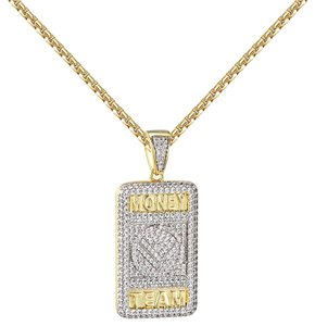 Other Money Team Dog Tag Pendant 14k Gold Finish Simulated Diamonds Chain