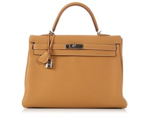 Hermès Tan Hr.k1215.06 Togo Leather Palladium Satchel