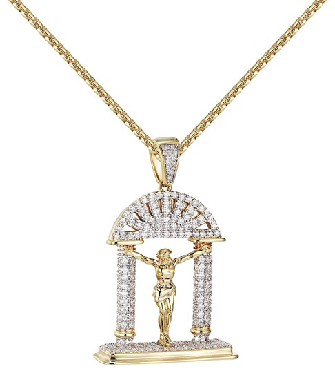 Preload https://img-static.tradesy.com/item/20884841/jesus-christ-crucifix-pendant-iced-out-simulated-diamond-14k-gold-tone-charm-0-1-540-540.jpg