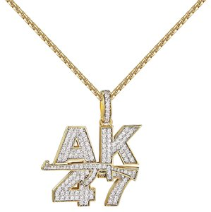 Other AK-47 Assault Gun Pendant 14k Gold Finish Simulated Diamonds 2mm 24