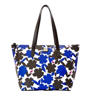 Dooney & Bourke & Flora Layla Leather Large Blue Tote in BLUE/BLACK/WHITE