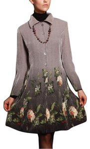 Jerry T. Fashion T. Lightweight Classy Grayish Silver & Green Floral Jacket