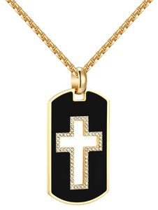 Other Stainless Steel Dog Tag Open Cross Pendant Black Gold Finish Steel Box