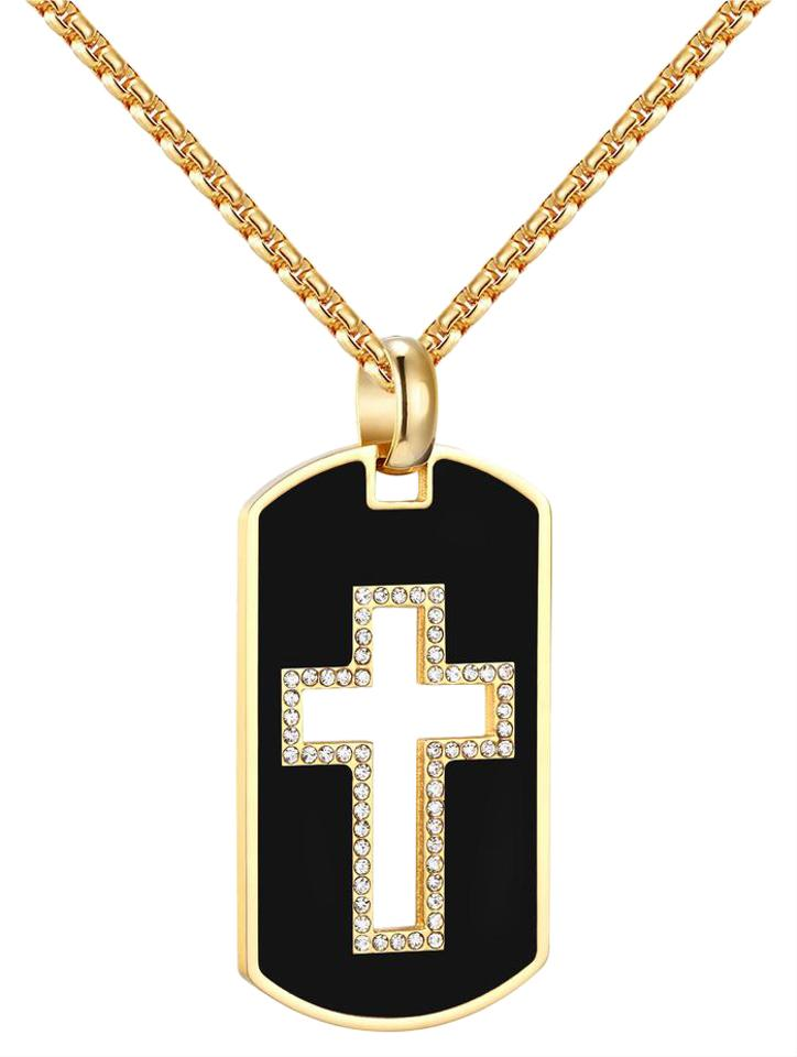 Stainless steel dog tag open cross pendant black gold finish steel stainless steel dog tag open cross pendant black gold finish steel box charm audiocablefo