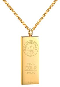 Other 14k Gold Tone Bar Style Pendant Stainless Steel In Gold We Trust 24