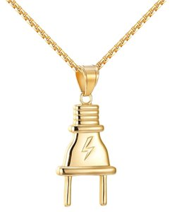 Other Flash Switch Plug Pendant Lightning 14k Gold On Stainless Steel Chain