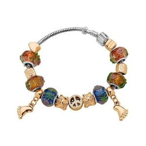 Murano Mixed Charms Murano Glass and European Charms Bracelet #4687