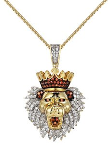 Other King Lion Face Pendant Iced Out Simulated Diamonds Free Chain