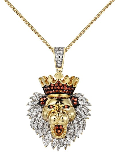 Preload https://img-static.tradesy.com/item/20885052/king-lion-face-pendant-iced-out-simulated-diamonds-free-chain-charm-0-1-540-540.jpg