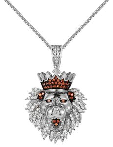 Other Iced Out King Lion Head Pendant Stainless Steel Chain 24 Inch
