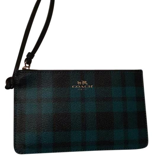 Preload https://img-static.tradesy.com/item/20885069/coach-riley-plaid-green-and-black-with-gold-hardware-coated-canvas-wristlet-0-3-540-540.jpg
