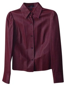 Burberry Maroon Leather Jacket
