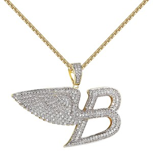 Other Angel Wings Luxury Car Logo B Pendant Iced Out 14k Gold Finish