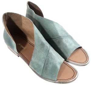 Free People Leather Upper Made In Spain Open-toe Modern Design Green Sandals