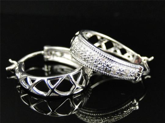 Other Ladies White Gold Finish Round Cut Diamond Pave Hoops Earrings 22 MM