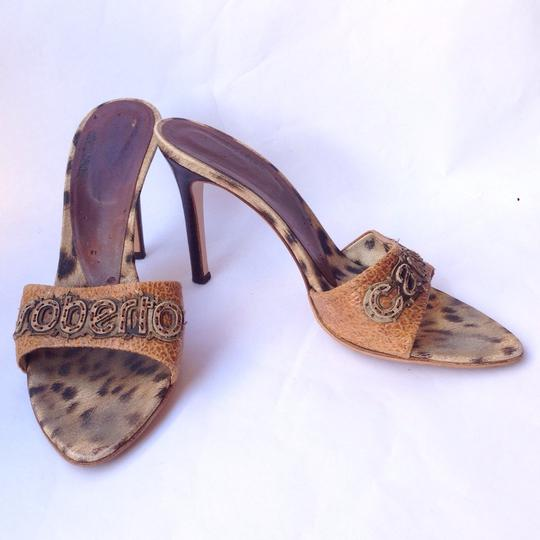 Roberto Cavalli Brown Tan Black Sandals
