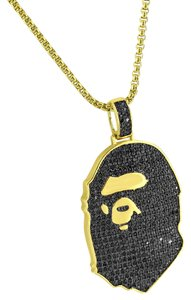 Other 14k Gold Plated Ape Custom Iced Out Bling Black Pendant